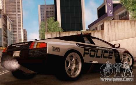 Lamborghini Murciélago policía 2005 para la vista superior GTA San Andreas