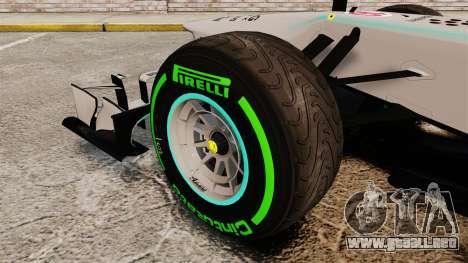 Mercedes AMG F1 W04 v4 para GTA 4 vista hacia atrás