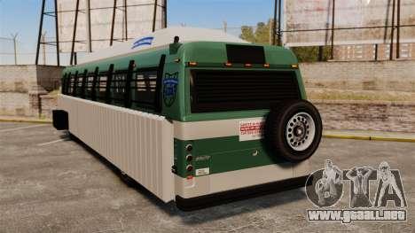 Autobús blindado para GTA 4 Vista posterior izquierda