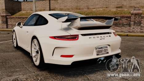 Porsche 911 GT3 (991) 2013 para GTA 4 Vista posterior izquierda