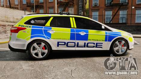 Ford Focus Estate Norfolk Constabulary [ELS] para GTA 4 left