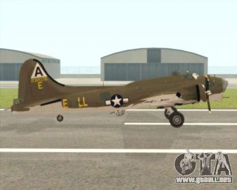 B-17G para GTA San Andreas vista posterior izquierda