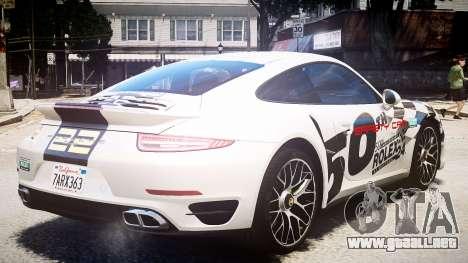 Porsche 911 Turbo 2014 para GTA 4 Vista posterior izquierda
