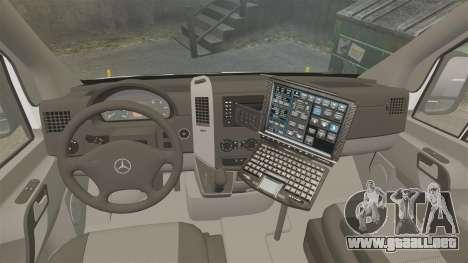Mercedes-Benz Sprinter 2500 Prisoner Transport para GTA 4 vista hacia atrás