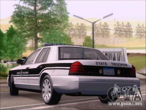 Ford Crown Victoria San Andreas State Trooper para GTA San Andreas vista posterior izquierda
