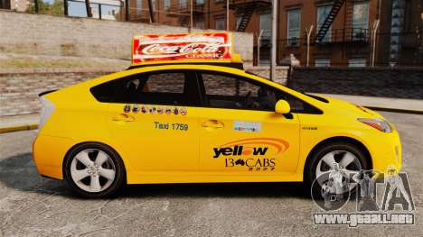 Toyota Prius 2011 Adelaide Yellow Taxi para GTA 4 left