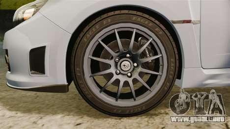 Subaru Impreza Cosworth STI CS400 2010 para GTA 4 vista hacia atrás