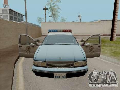 Chevrolet Caprice LAPD 1991 para GTA San Andreas vista posterior izquierda