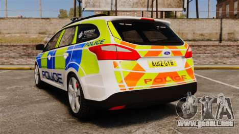 Ford Focus Estate Norfolk Constabulary [ELS] para GTA 4 Vista posterior izquierda