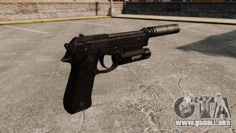 Pistola semiautomática Beretta 92 con silenciado para GTA 4 segundos de pantalla