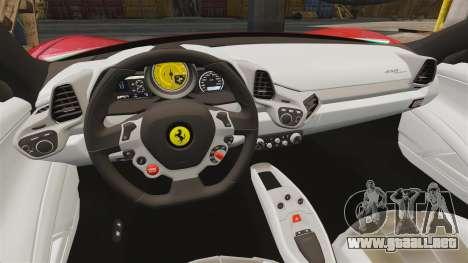 Ferrari 458 Italia 2010 Novitec para GTA 4 vista hacia atrás