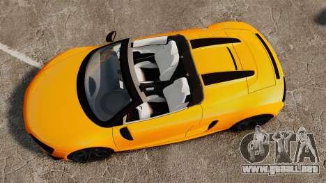 Audi R8 GT Spyder para GTA 4 visión correcta