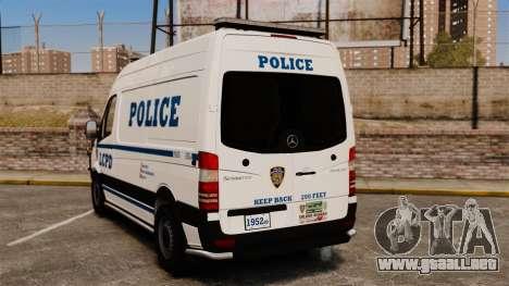 Mercedes-Benz Sprinter 2500 Prisoner Transport para GTA 4 Vista posterior izquierda