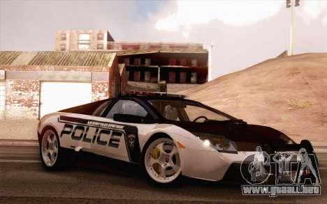 Lamborghini Murciélago policía 2005 para vista lateral GTA San Andreas