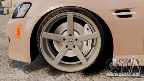 Pontiac G8 GXP [VE] 2009 para GTA 4 vista hacia atrás