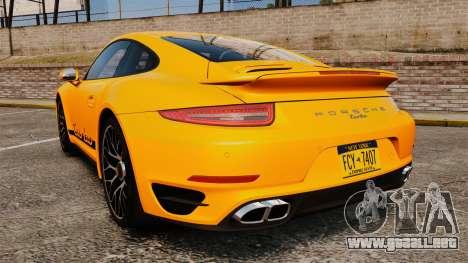 Porsche 911 Turbo 2014 [EPM] Turbo Side Stripes para GTA 4 Vista posterior izquierda