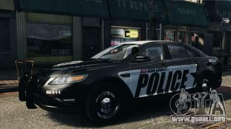 Ford Taurus Police Interceptor 2010 para GTA 4 Vista posterior izquierda