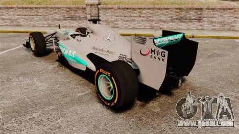Mercedes AMG F1 W04 v3 para GTA 4 Vista posterior izquierda