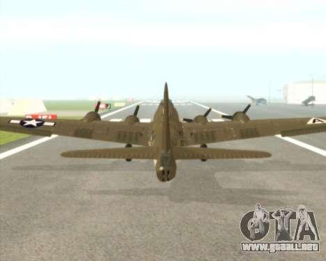 B-17G para GTA San Andreas vista hacia atrás