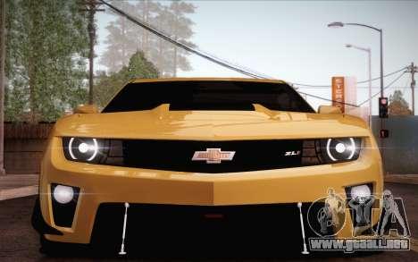 Chevrolet Camaro ZL1 para GTA San Andreas interior