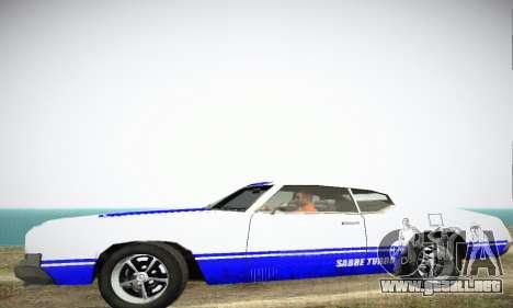 GTA IV Sabre Turbo para GTA San Andreas vista posterior izquierda