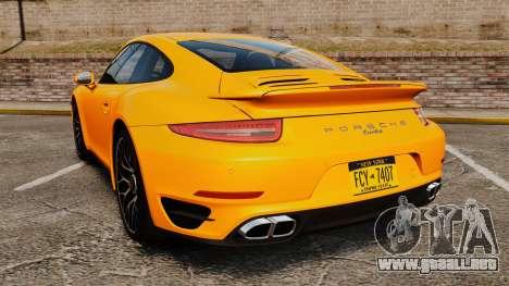 Porsche 911 Turbo 2014 [EPM] para GTA 4 Vista posterior izquierda