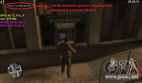 Cuenta en un cajero automático para GTA 4 segundos de pantalla