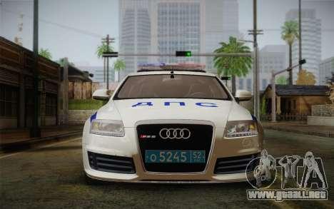 Audi RS6 Police para GTA San Andreas vista posterior izquierda