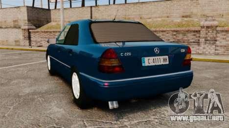 Mercedes-Benz C220 W202 v2.0 para GTA 4 Vista posterior izquierda