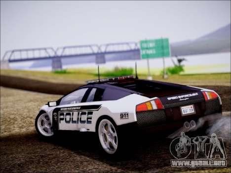 Lamborghini Murciélago policía 2005 para GTA San Andreas vista posterior izquierda