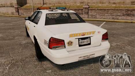 GTA V Police Vapid Cruiser Sheriff para GTA 4 Vista posterior izquierda