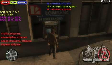 Cuenta en un cajero automático para GTA 4 tercera pantalla