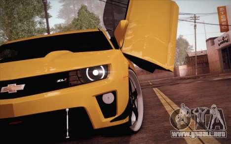 Chevrolet Camaro ZL1 para GTA San Andreas vista posterior izquierda