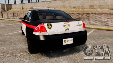 Chevrolet Impala 2008 LCPD STL-K Force [ELS] para GTA 4 Vista posterior izquierda