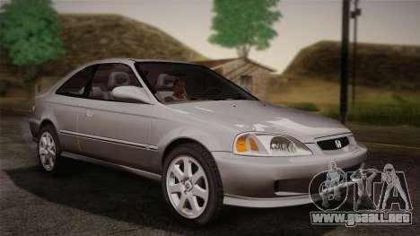 Honda Civic Si 1999 Coupe para GTA San Andreas vista posterior izquierda