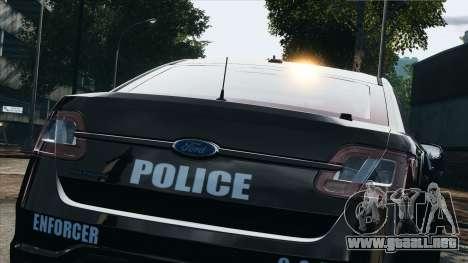 Ford Taurus Police Interceptor 2010 para GTA 4 vista hacia atrás