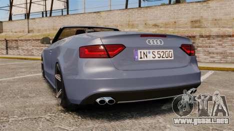 Audi S5 Convertible 2012 para GTA 4 Vista posterior izquierda