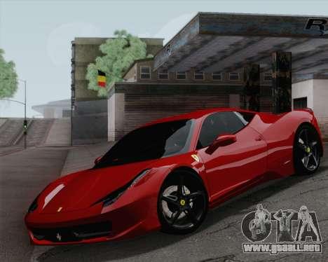 Ferrari 458 Italia 2010 para vista lateral GTA San Andreas