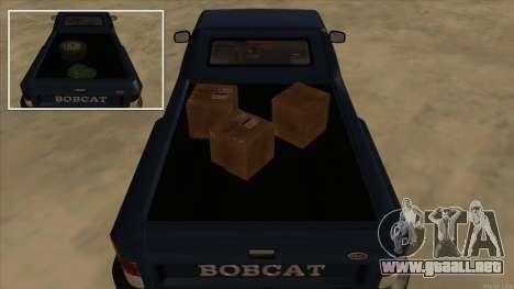 Bobcat HD from GTA 3 para GTA San Andreas vista hacia atrás