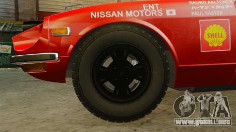 Datsun 240Z 1971 East African Safari para GTA 4 vista hacia atrás
