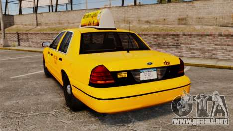 Ford Crown Victoria 1999 NY Old Taxi Design para GTA 4 Vista posterior izquierda