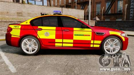 BMW M5 West Midlands Fire Service [ELS] para GTA 4 left