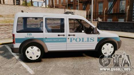Ford Transit Connect Turkish Police [ELS] para GTA 4 left