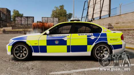 BMW 330i Hampshire Police [ELS] para GTA 4 left