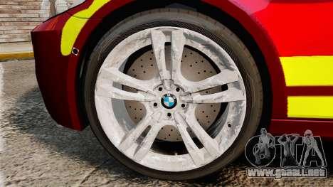 BMW M5 West Midlands Fire Service [ELS] para GTA 4 vista hacia atrás
