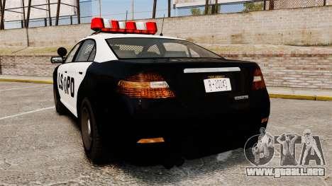 GTA V Vapid Police Interceptor LSPD para GTA 4 Vista posterior izquierda