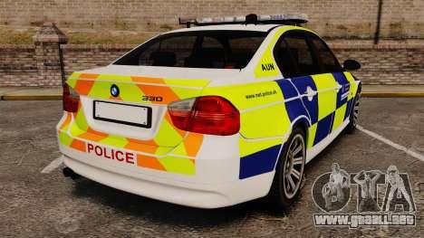 BMW 330i Metropolitan Police [ELS] para GTA 4 Vista posterior izquierda