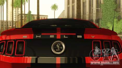 Ford Shelby GT500 2013 para GTA San Andreas vista hacia atrás