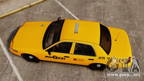 Ford Crown Victoria 1999 NYC Taxi para GTA 4 visión correcta
