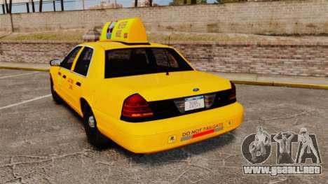 Ford Crown Victoria 1999 LCC Taxi para GTA 4 Vista posterior izquierda